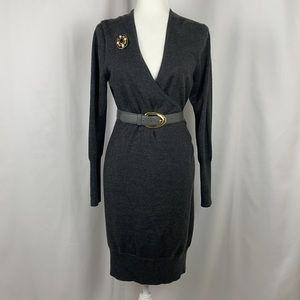 Loft Dark Charcoal Faux Wrap V-Neck Sweater Dress